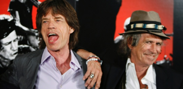 """Mick Jagger e Keith Richards durante evento do documentário """"Shine A Light"""" sobre os Rolling Stones (16/3/12) - Lucas Jackson/Reuters"""
